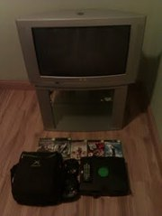 phillips 32 inch silver tv +stand +xbox+games
