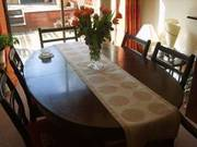 DINING ROOM TABLE,  CHAIRS & MATCHING CABINET
