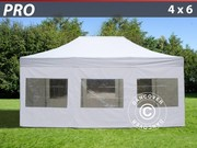 Folding canopy 4x6 m Pro Pack,  incl. 8 sidewalls,  white
