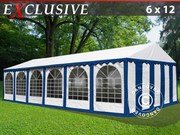 Marquee Plus 6x12 m PVC blue/white