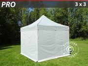 Folding canopy PRO 3x3 m Pack,  incl. 4 sidewalls,  silver