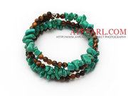 Turquoise Chips and Tiger Eye Three Times Wrapped Bracelet is sold at