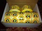Box of 7 rolls of Promotional stickers,  1, 000 per roll BARGAIN
