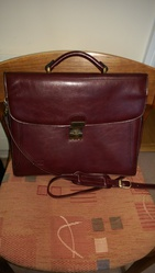 Briefcase,   leather. Dark brown.  Texier brand.