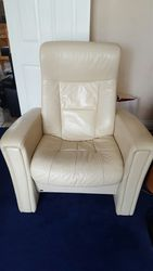 3 seat soft cream leather reclining sofa with matching reclining chair