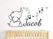 Baby Elephant Bubbles Personalised Wall Sticker