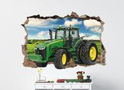 John Deere Tractor 3D Smashed Wall Decal