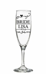 Wedding champagne glass decal sticker
