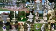 Sculptures, fountains,  flower vases.